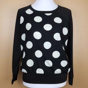 🌟 Francescas Black White Polka Dot Print Sweater